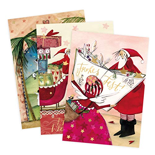 Set Di 3 Biglietti Di Auguri Per Natale, Presepe, Babbo Natale, Slitta, Angelo, Neutro, Bambino, Ragazza, In Bianco, Per Natale, DIN A6