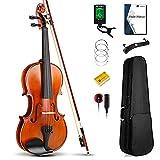 Vangoa 4/4 Violín de Concierto Madera Maciza Violines Acústico con Funda de violín, Hombro, Colofonia y Cuerdas de violín para Principiantes, Adultos o Niños, Natural