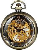 LILAODA Men S Unisex Vintage Transparente Steampunk Open Face Mano Viento Mecánico Mecánico Reloj de Bolsillo para Hombres Mujeres 15 Pulgadas-Oro