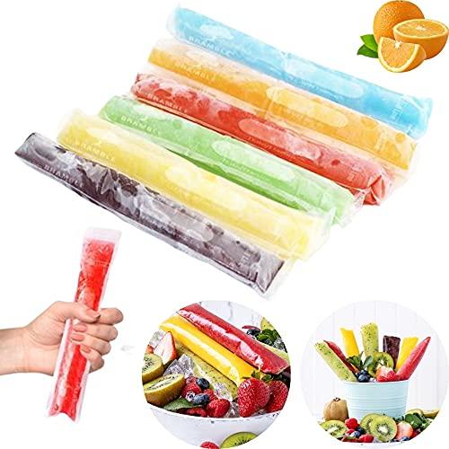 Orapink 50 Stück Einweg-Eisbeutel mit Eisform, BPA-freier Eis am Stiel-Hersteller mit Druckverschluss für Gefrierschrank, Joghurt, Eisbonbons (28 * 5,5 cm)
