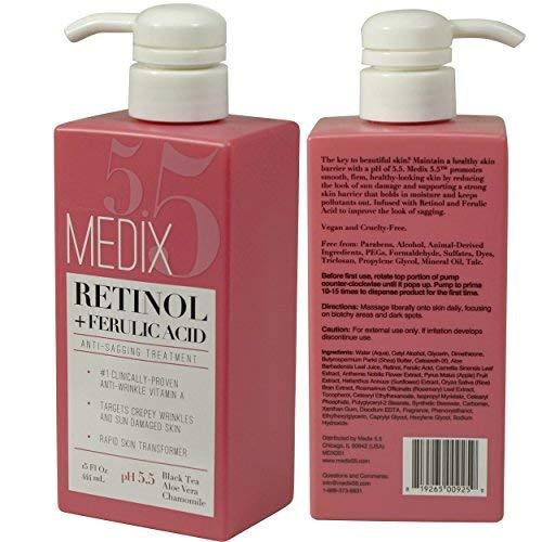 Medix 5.5 Retinol Cream with Ferulic Acid Anti-Sagging Treatment. Targets Crepey Wrinkles and Sun...