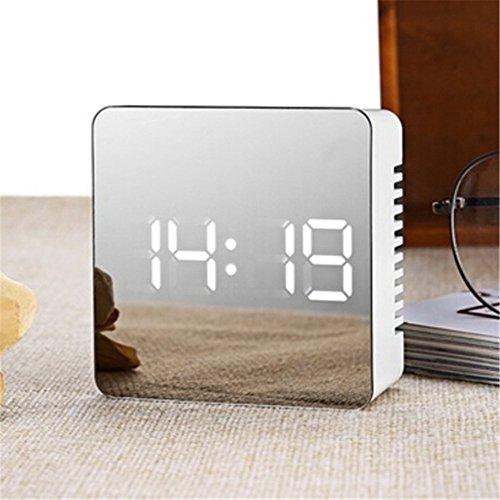 Reloj despertador LED Naisicatar 2018 – Pantalla digital con espejo, portátil, moderno, inteligente, con timbre, fecha, hora, temperatura, para dormir pesados, dormitorio, oficina y viajes (cuarto)