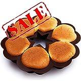 KeepingcooX - Stampo antiaderente per 6 muffin a forma di cuore, in silicone per uso alime...