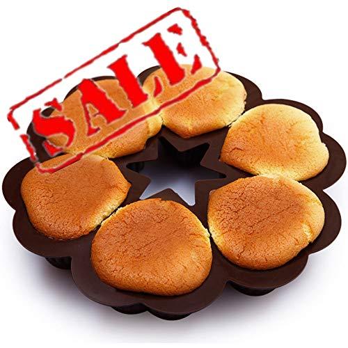 KeepingcooX Silikonform mit Herzen groß für Muffins, Herzbackform, 6 Herzchen, Backform, Muffinform Herz, Eiswürfel, 24.5cm, Kuchen, Muffincups, Schokolade, Seife, Farbe zufällig