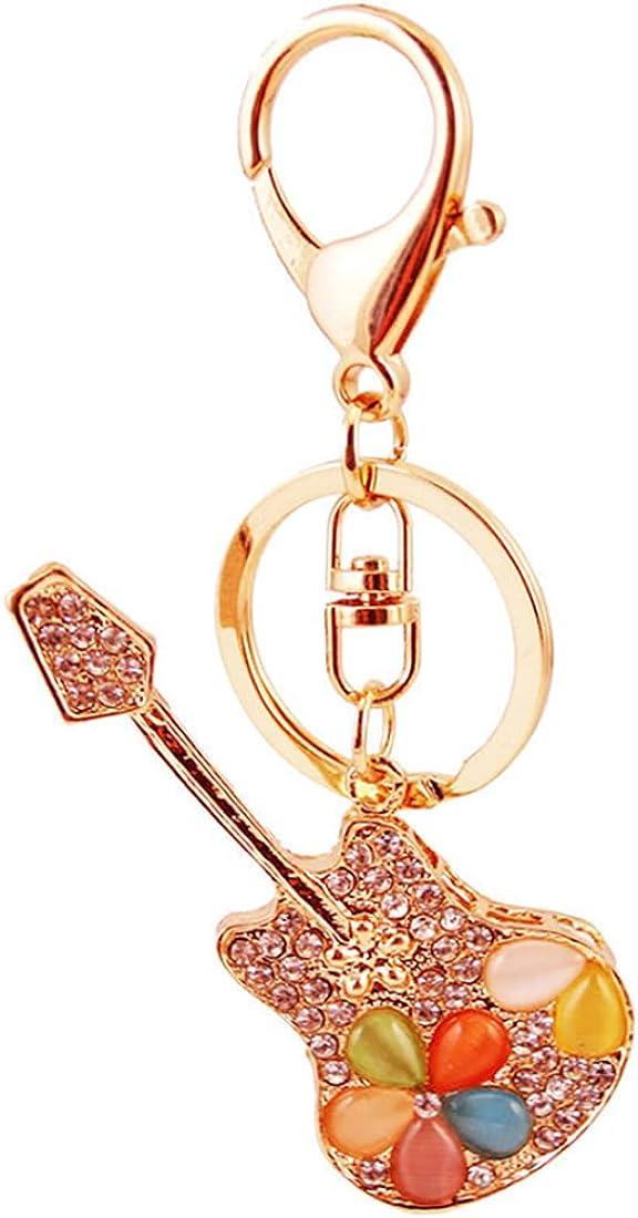 Guitar Keychain Bass Key Chain Ring Car Keyring Electric Guitar Key Holder Sparkling Crystal Rhinestone Key Ring Key Fob Purse Ornament Charm Handbags Bag Car Pendant Gift Decoration