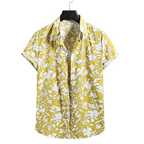 SSBZYES Herrenhemden Sommer Kurzarm Herren Freizeithemden Herren Kurzarm Blumenhemden Hawaiihemden Junge Herren Strickjacken