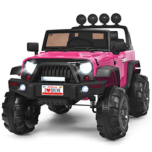 Costzon Ride on Truck, 12V Battery Powered Electric Vehicle w/ 2.4G Remote Control, 3 Speeds, LED Lights, Horn, MP3, Music, Double Magnetic Doors, Safety Belt, Ride on Car for Kids (Pink) Massachusetts