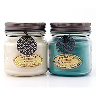 Way Out  West Scented Candles in Piñon Pine & Vanilla de Leche - Gift Ready, Boxed Set of 2 Jar Candles - Fragrant, Long Lasting Soy Wax Blend - Delightful Soothing Fragrances for a Warm, Cozy Home