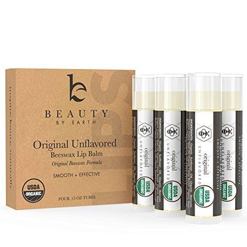 Organic Lip Balm Original Unflavored - 4 Tubes of Natural Lip Balm, Lip Moisturizer, Lip Treatment for Dry Lips, Lip Care Gifts for Women or Men, Lip Repair, Organic Chapstick