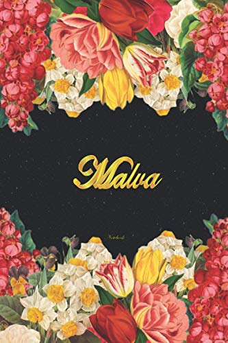Malva Notebook: Lined Notebook / Journal with Personalized Name, & Monogram initial M on the Back Cover, Floral cover, Gift for Girls & Women