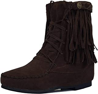 VulusValas Women Height Increasing Fringe Boots Pull On