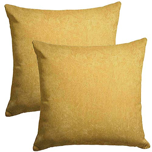 Cushion Cover A set of 2 Ochre Mustard Yellow Super Soft Chenille Stripe Jumbo Cord Ribbed Corduroy 50 cm x 50 cm 20' x 20'