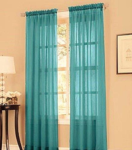 "GorgeousHomeLinenDifferent Solid Colors 2 PC Rod Pocket Sheer Window Curtains Treatment Drape Voile Elegant Panels 55"" Width X 63"" 84"" 95"" Length (84"" Length, Teal Blue)"