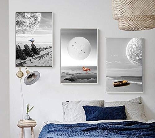 YDGG Onde della Nave in Bianco e Nero Mare Poster Art Canvas Pictures Living Room Home Decor Painting-50x70cmx3 Pezzi Senza Cornice
