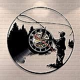 QIANGTOU Fisherman Lake Scene Wall Art Decoración para el hogar Reloj de Pared Pesca Disco de Vinilo Reloj de Pared Pesca Reloj Retro Regalos de Pescador para Hombres
