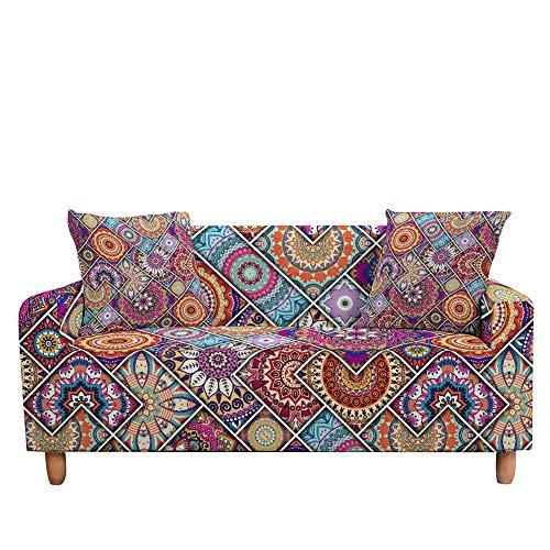 ASCV Funda de sofá elástica para Sala de Estar 3D Mandala de Flores étnicas Cojines Bohemios Fundas de Muebles de sillón Universal A9 2 plazas
