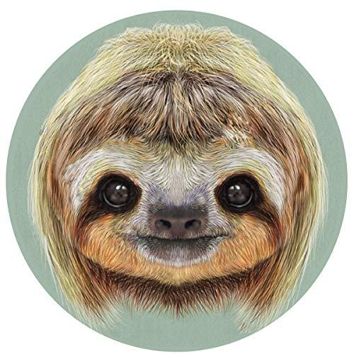 W-WEE Cute Face Sloth Cómodo Cojines Antideslizantes Alfombra Redonda Alfombra Redonda Alfombrilla Linda Alfombra Redonda de baño 60cm