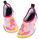 Zapatos de Agua para Bebé Niña Dinosaurio Zapatillas Acuáticas Secado Calcetine (Rosa, Numeric_24)