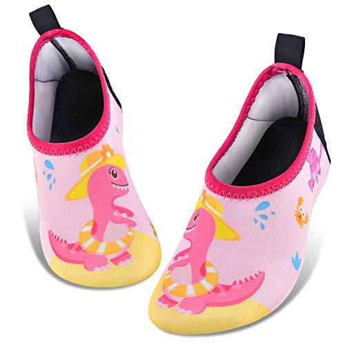 Zapatos de Agua para Bebé Niña Dinosaurio Zapatillas Acuáticas Secado Calcetine (Rosa, Numeric_26)