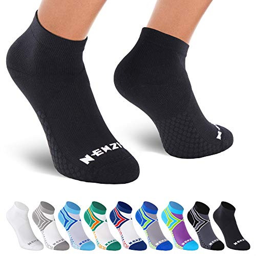 NEWZILL Low Cut Compression Socks - Unisex Running Socks With Embedded Frequency Technology For Heel, Ankle & Arch Support (Medium, Black)