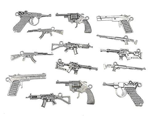 Kinteshun Alloy Gun Weapon Charm Pendant Connector for DIY Jewelry Making Accessaries(14pcs,Antique Silver Tones)