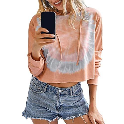 Hemd Damen-Sweatshirt Langarm Hoodie Pullover Batik-Optik ,Fledermausärmel Kordelzug Kurzes Pyjama-Shirt Lässig Oberteil Mode Retro All-Match Party Top XL