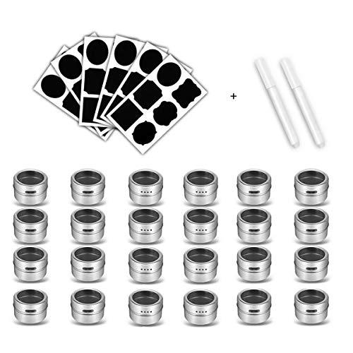 Nubstous - Set di 24 contenitori magnetici per spezie in Acciaio Inox, con 4 Etichette per spezie + 2 pennarelli cancellabili