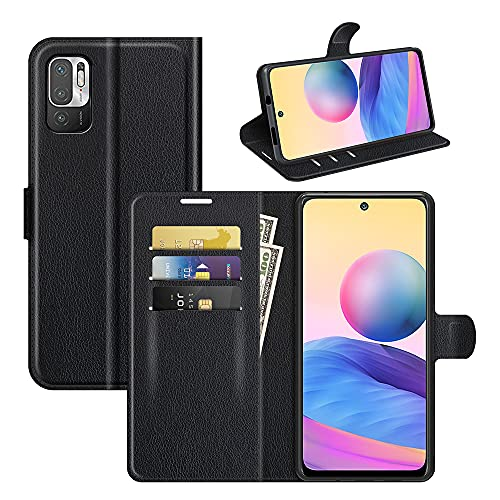 Fertuo Funda para Xiaomi Redmi Note 10 5G / Poco M3 Pro, Carcasa Libro con Tapa de Cuero Piel Wallet Case Flip Cover con Hebilla Magnetica, Ranuras para Tarjetas para Redmi Note 10 5G, Negro