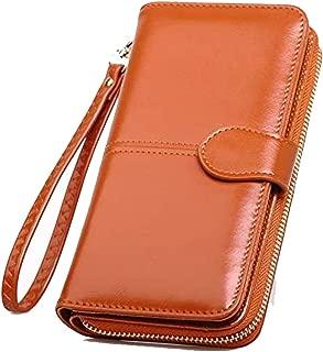 SKUDGEAR Long Bi-Fold Zipper Wallet Large Capacity PU Leather Clutch Women's Wristlet (Brown)