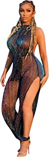 Womens See Through Mesh Jumpsuit Off Shoulder One Piece Outfit Party Club Wear