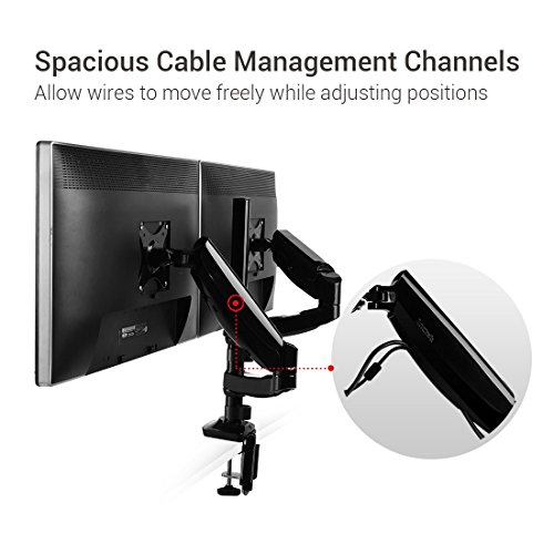 Fleximounts Monitor Arm Dual Stacking Arm Monitor Mount for 10-27 inches LCD LED Screens Desk Monitor Mount Stand Holder (Dual Stacking Arm)
