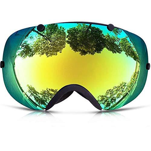 ZAIHW Lunettes de Ski, Lunettes de Snowboard OTG, sans Cadre, pour Hommes et Femmes à Verres interchangeables, Protection Anti-buée UV400, Grand Format (Couleur : Green)
