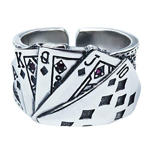 Holibanna Anillo de Dedo Índice Anillo de Juego de Póker de Estilo Antiguo Apertura Gótica Banda de Dedo Ajustable Anillos de Dedo Joyería para Mujeres Hombres