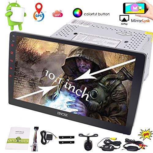 New Designed 10.1 inch HD Large Full-Touch Screen Car Stereo Android 6.0 System GPS NO DVD Player Bluetooth Radio Support SUB/Video Output Mirrorlink Steering Wheel Control+ Wireless Backup Camera