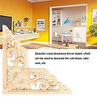 刻まれたアップリケ、4PCS木彫りのアンレイ、コーナーアップリケ、家具の家のための木彫り