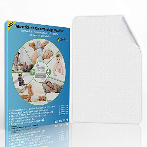 AGIA TEX Germany Inkontinenzunterlage waschbar 60x90 cm - Molton Inkontinenzauflage für Bettnässer - Wasserdichte Bettunterlage als Matratzenschoner - Atmungsaktiv & Geräuscharm