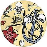 Zseeda Reloj de Pared Moderno Old School Vintage Retro Tattoo Ink Art Style Decorativo Redondo silencioso Reloj 9.8 '