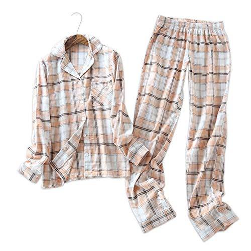 HIUGHJ Gran Pijama de algodón Cepillado de Alemania de Talla Grande Conjunto de Pijamas de Mujer de Cuadros Simples de Primavera Pijamas de Manga Larga Ropa de Dormir para Mujeres, Cuadros Escoceses