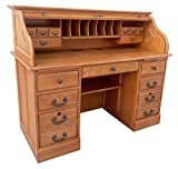 Roll Top Desk Solid Oak Wood Executive Desk 54wx24dx45h Honey Harvest Oak Finish Office Secretary Organizer Roll Hutch Top Easy Assembly Quality Crafted Construction Locking File Drawers Dovetailed
