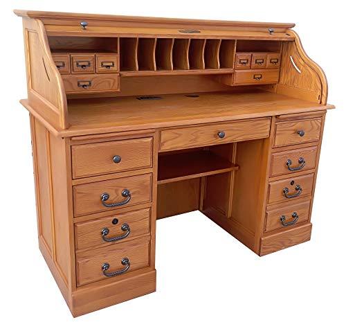 Roll Top Desk Solid Oak Wood Executive Desk 54wx24dx45h Honey Harvest Oak Finish Office Secretary...