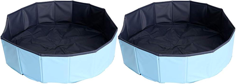 Baoblaze 2 Pcs Foldable PVC Pet Play Paddling Pool Predable Puppy Swimming Cooling Bathing Tub Skybluee Dia. 80cm