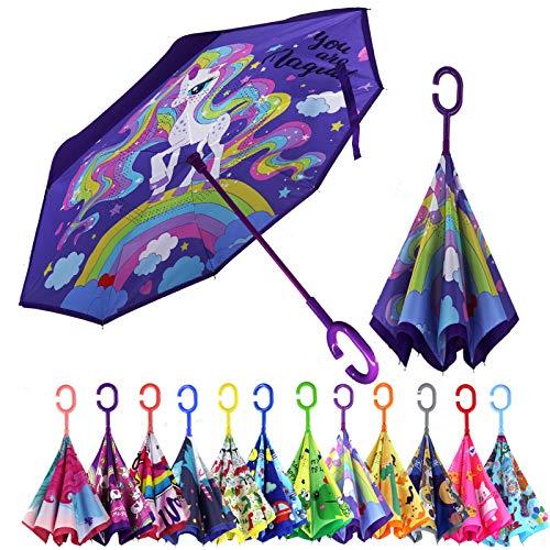 MRTLLOA Kids Umbrella, Reverse Kids Umbrella Girls, Inverted Kids Umbrella Boys, Upside Down Umbrellas for Kids Boys & Girls, Unicorn Gifts for Girls, Age 4-13 (Magic Unicorn)