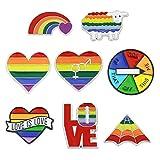 XUNXI Broche de alfiler, 8 Piezas Arco Iris Orgullo Gay lésbico Esmalte Pin de Solapa Broche Amor es Amor Insignia Colorida Pin Amante Joyería Regalos