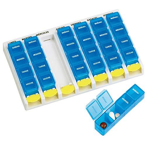 Pastillero semanal con 4 tomas diarias | Compartimentos de fácil extracción | Dimensiones: 21 x 12,5 x 2,5 cm | Mobiclinic