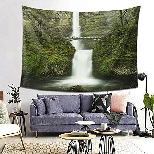 PATINISA Tapiz de Regalo,Hobbits Falls of Rivendell Multnomah Waterfall Oregon con Hobbit Elf Path Bridge Imagen de escena1,Tapiz Bohemio diseño para Colgar en la Pared 60x51in