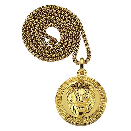 NYUK Schmuck Herren Damen Halskette mit Löwenkopf Anhänger Legierung 18K Vergoldet 70cm Kette Goldfarbe
