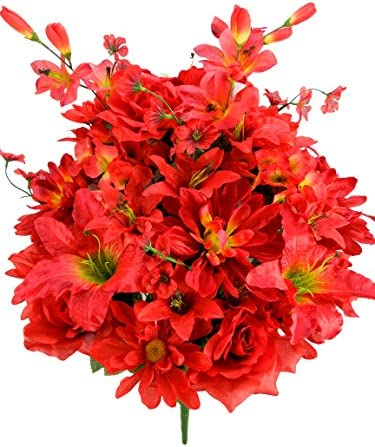 Admired By Nature Artificial Full Blooming Scabiosa Rose Lily Hydrangea with Filler Mixed Bush product image