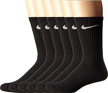 NIKE Unisex Performance Cushion Crew Socks  6 Pairs  Black/White Large