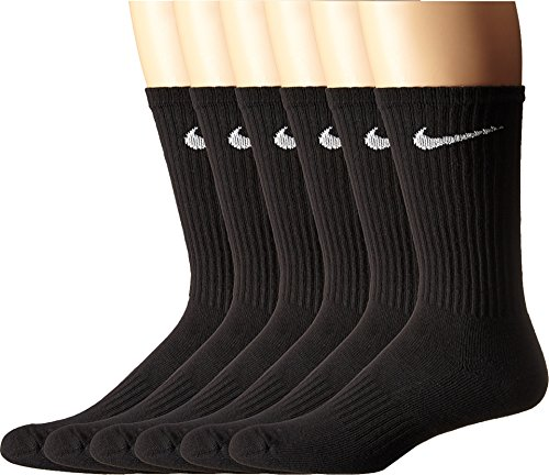 耐克男女通用性能垫船员袜包(6双),黑色/白色,中号
