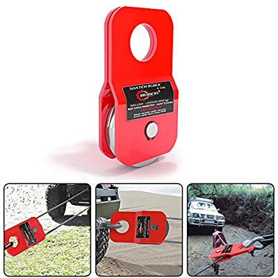 RUGCEL WINCH 10T Heavy Duty Recovery Winch Snatch Block, 22000lb. Capacity (Red)
